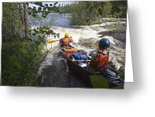 Canoeists Run A Rapid On The Winisk Greeting Card