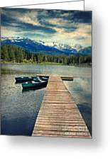 Canoes At Dock On Mountain Lake Greeting Card by Jill Battaglia