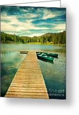 Canoes At The End Of The Dock Greeting Card