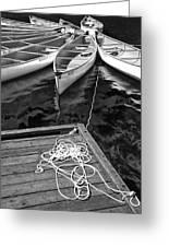 Canoes Docked At Lost Lake Greeting Card