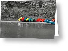 Canoes In A Row Greeting Card