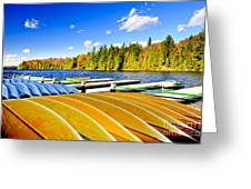 Canoes On Autumn Lake Greeting Card