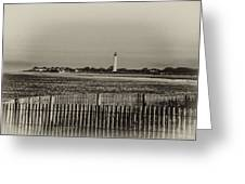 Cape May Light House In Sepia Greeting Card