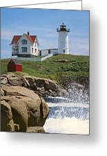 Cape Neddick Nubble Lighthouse Maine Greeting Card by Jeff Clinedinst
