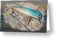 Cap'n Bill Swimmer Vintage Saltwater Fishing Lure Greeting Card