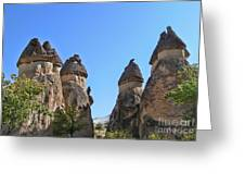 Capped Rock Formations Of Cappadocia Greeting Card by Alexandra Jordankova