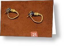 Caprine-head Earrings Greeting Card by Andonis Katanos