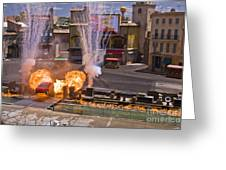 Car And Explosions At Disney Hollywood Greeting Card