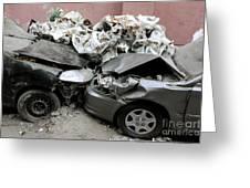 Car Crash In Cairo Greeting Card