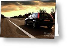 Car On The Road During Sunset Greeting Card