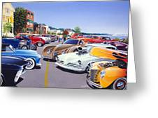 Car Show By The Lake Greeting Card