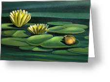 Card Of Frog With Lily Pad Flowers Greeting Card