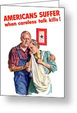 Careless Talk Kills -- Ww2 Propaganda Greeting Card