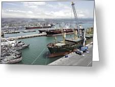 Cargo Ships In Port Greeting Card