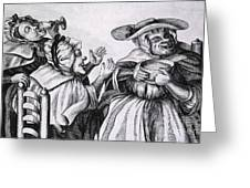 Caricature Of Three Alcoholics, 1773 Greeting Card by Science Source