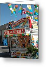 Carnival Festival Fun Fair French Fries Food Stand Greeting Card by Kathy Fornal