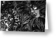 Carnival Masks In Black And White Greeting Card