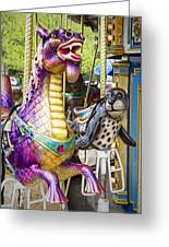 Carousal Dragon And Seal On A Merry-go-round Greeting Card