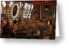 Carousel At Night Greeting Card