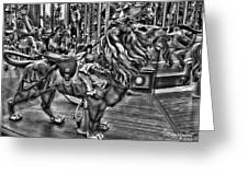 Carousel  Black And White Greeting Card