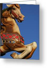 Carousel Horse Against Blue Sky Greeting Card