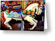 Carousel Horse With Roses Greeting Card