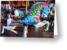 Carousel Horse With Sea Motif Greeting Card