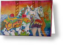 Carousel Of Horses Greeting Card