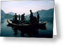 Carp Fishermen In Lake Formed By A Dam Greeting Card