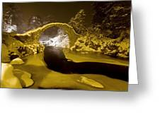 Carr Bridge At Night In Winter Greeting Card