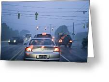 Cars And Traffic Lights In A Rain Storm Greeting Card