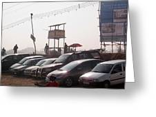 Cars In A Parking Lot At Surajkund Greeting Card