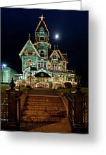 Carson Mansion At Christmas With Moon Greeting Card