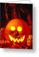Carved Pumpkin With Fall Leaves Greeting Card