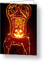 Carved Smiling Pumpkin On Chair Greeting Card