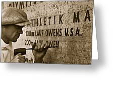 Carving The Name Of Jesse Owens Into The Champions Plinth At The 1936 Summer Olympics In Berlin Greeting Card by American School