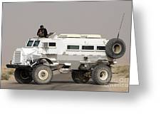 Casper Armored Vehicle Blocks The Road Greeting Card by Terry Moore