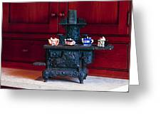 Cast Iron Stove With Teapots Greeting Card