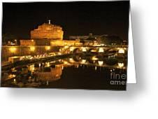 Castel San Angelo At Night. Rome Greeting Card by Bernard Jaubert