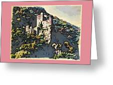 Castle Above The Rhine In Germany Greeting Card