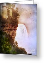 Castle At The Edge Of The Falls Greeting Card