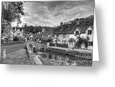 Castle Combe England Monochrome Greeting Card