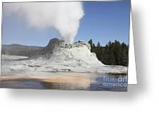 Castle Geyser Steam Phase, Upper Geyser Greeting Card