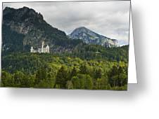 Castle Neuschwanstein With Alps In The Background Greeting Card