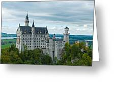 Castle Neuschwanstein With Surrounding Landscape Greeting Card