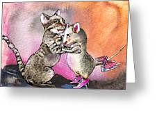 Cat And Mouse Reunited Greeting Card