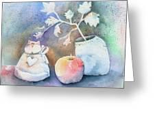 Cat-apple-vase Still Life Greeting Card