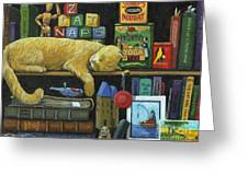 Cat Naps - Old Books Oil Painting Greeting Card