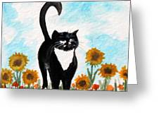 Cat Walk Through The Sunflowers Greeting Card