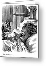 Cat Watching Sleeping Man, Artwork Greeting Card